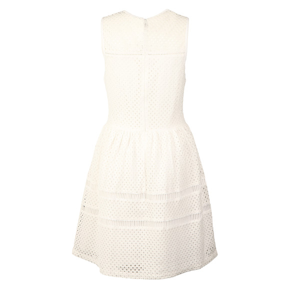 Superdry Womens White Geo Lace Mix Skater Dress main image