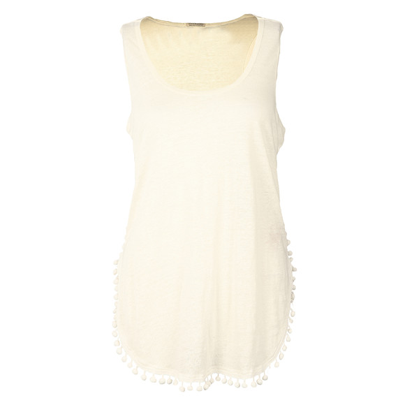 Maison Scotch Womens White Linen Tank With Pompom Detail main image