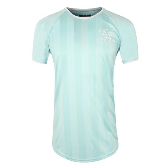 Sik Silk Mens Green Retro Stripe Curve Hem T Shirt main image