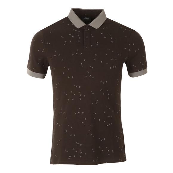 Armani Jeans Mens Grey Allover Logo Polo Shirt main image