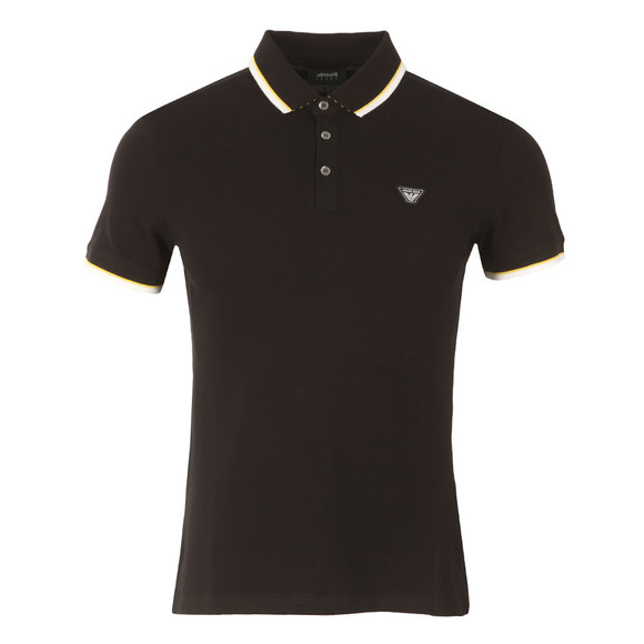 Armani Jeans Mens Black 3Y6F27 Tipped Polo Shirt main image