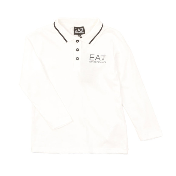 EA7 Emporio Armani Boys White Tipped Long Sleeve Polo Shirt main image