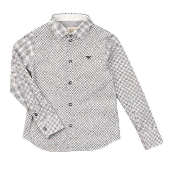 Armani Junior  Boys Blue 3Y4C14 Patterned Shirt main image