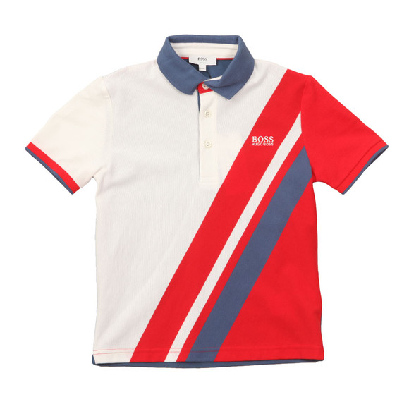Boss Boys White J25A69 Slash Polo Shirt main image