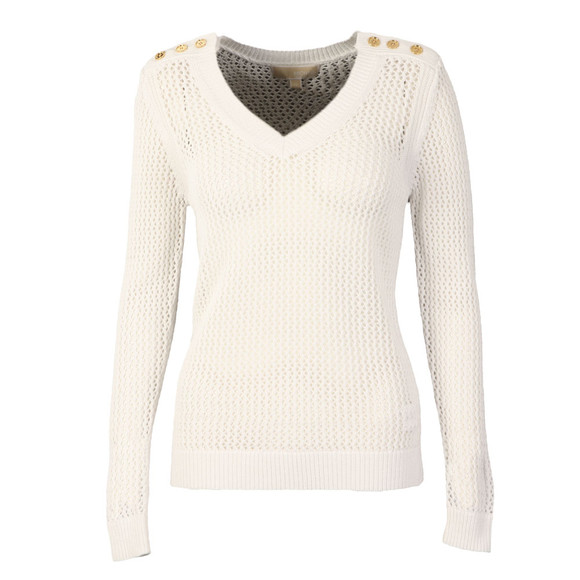Michael Kors Womens White V Neck Mesh Sweater main image