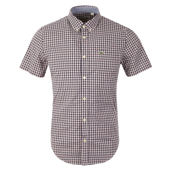 Lacoste Mens Blue CH3951 Check SS Shirt main image