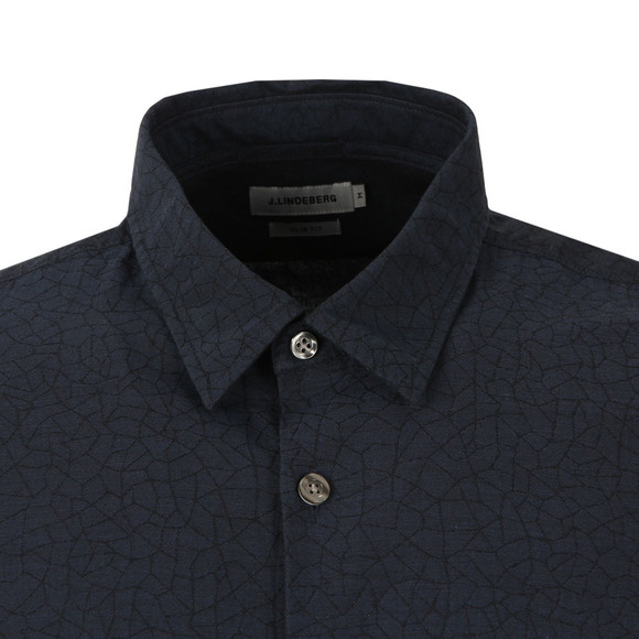 J.Lindeberg Mens Blue Daniel Cracked Jacquard Shirt main image