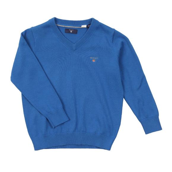 Gant Boys Blue Solid Cotton V Neck Jumper main image