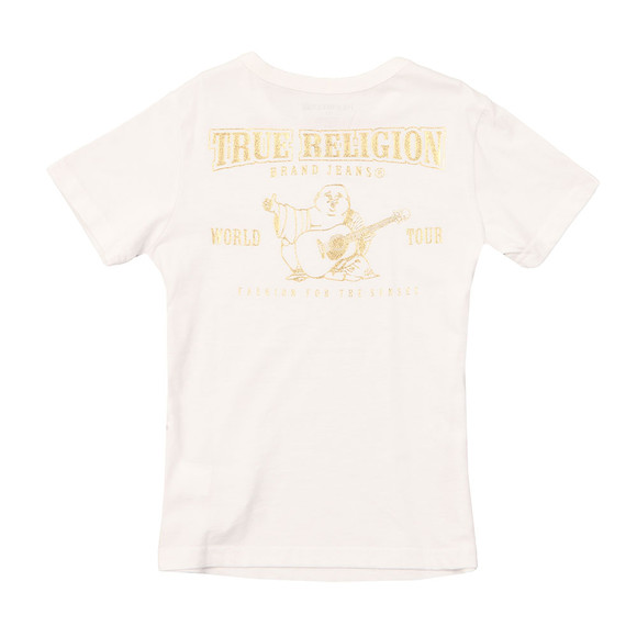 True Religion Boys White Gold Buddha Logo Tee main image
