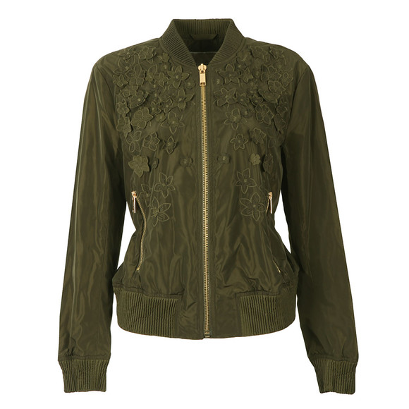 Michael Kors Womens Green Light Weight Embroidered Bomber Jacket main image