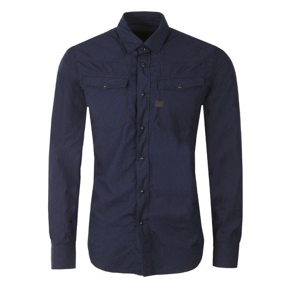 G-Star Mens Blue L/S 3301 Poplin Shirt main image