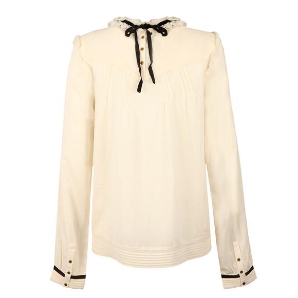 Maison Scotch Womens Off-white Sheer Cotton/Viscose Top main image