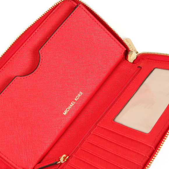 Michael Kors Womens Red Jet Set Travel Large Coin Multi Function Phone Case main image