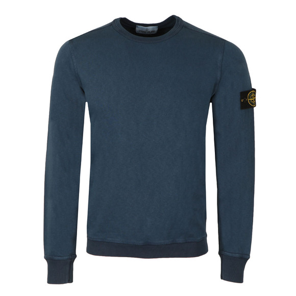 Stone Island Mens Blue Washed Crew Neck Sweatshirt main image