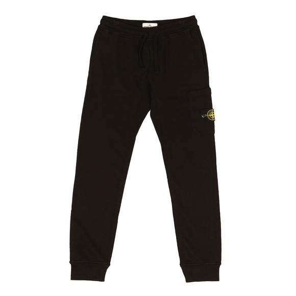 Stone Island Mens Black Zip Pocket Badge Joggers main image