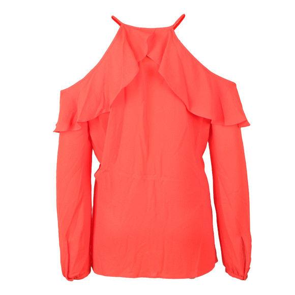 Michael Kors Womens Red Cold Shoulder Flounce Top main image