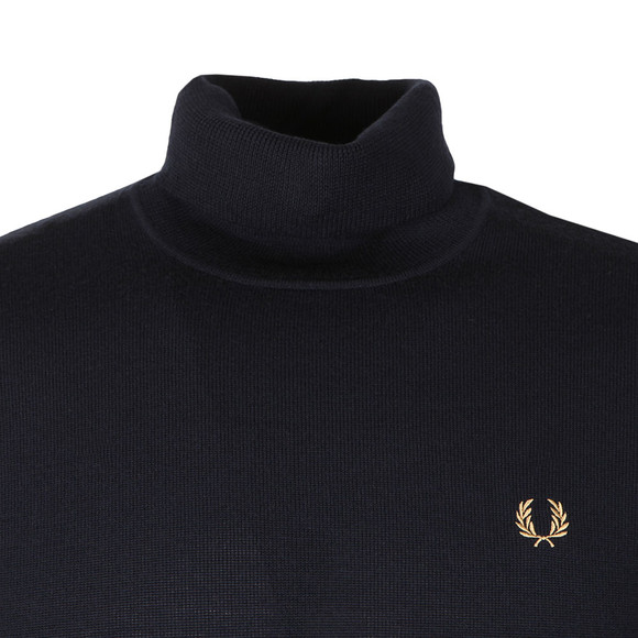 Fred Perry Mens Blue Merino Roll Neck Sweater main image