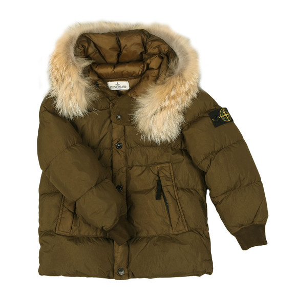 Stone Island Junior  Boys Green Garment Dyed Crinkle Reps NY Down Jacket main image
