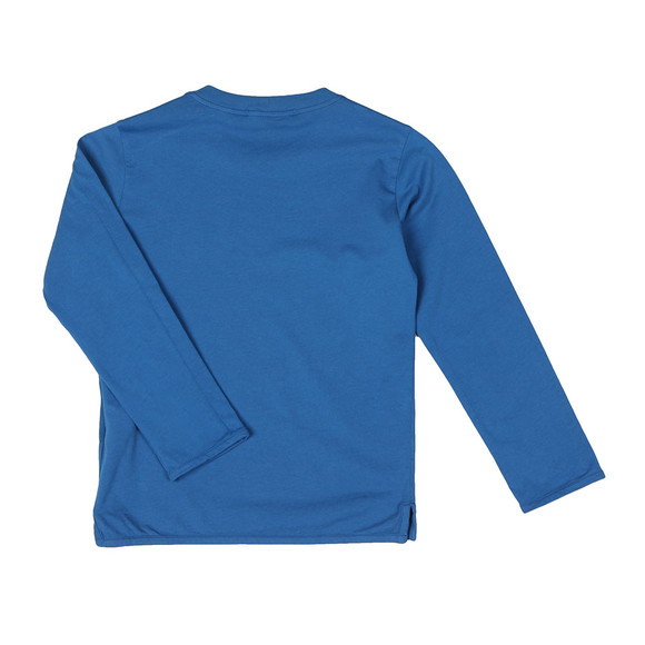 Stone Island Junior  Boys Blue Patch Logo Long Sleeve T Shirt main image