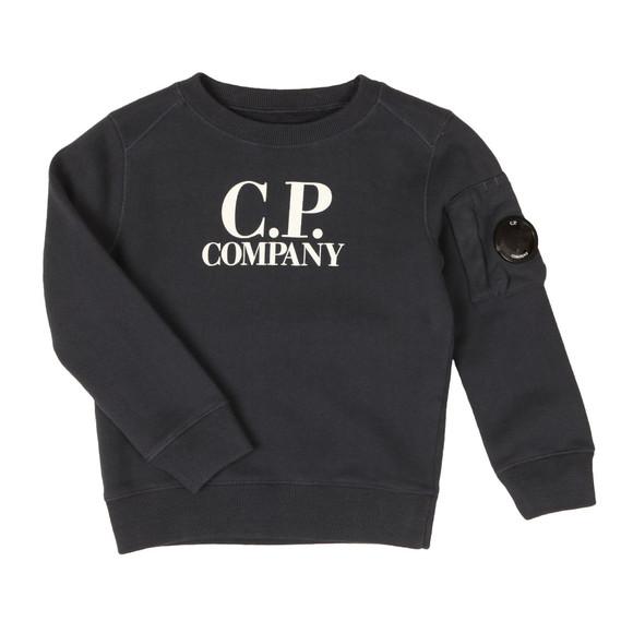 CP Company Undersixteen Boys Blue Logo Viewfinder Sleeve Fleece Sweatshirt main image