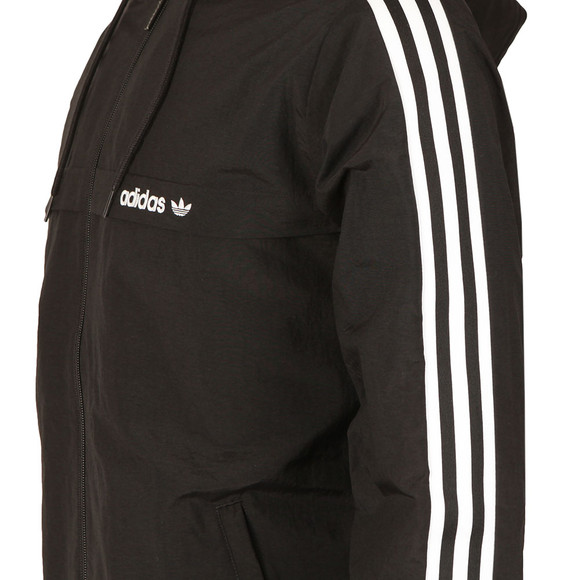 Adidas Originals Mens Black 3 Striped Windbreaker main image
