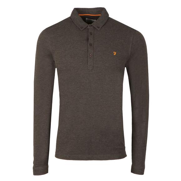 Farah Mens Grey Merriweather L/S Polo Shirt main image
