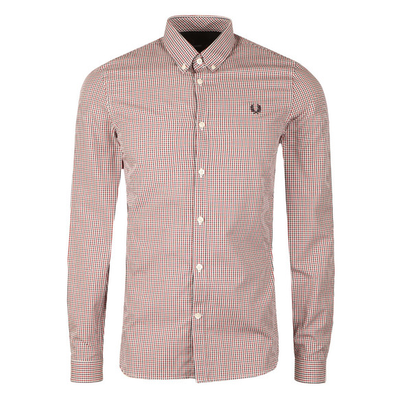 Fred Perry Mens Blue 3 Colour Basketweave Shirt main image