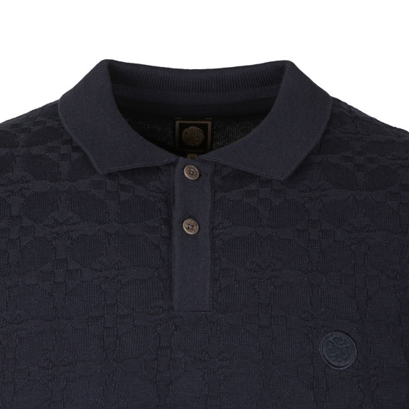 Pretty Green Mens Blue Knitted Jacquard Polo main image