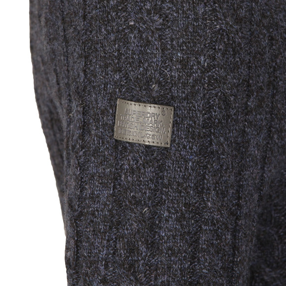Superdry Mens Blue Harlo Cable Crew Jumper main image