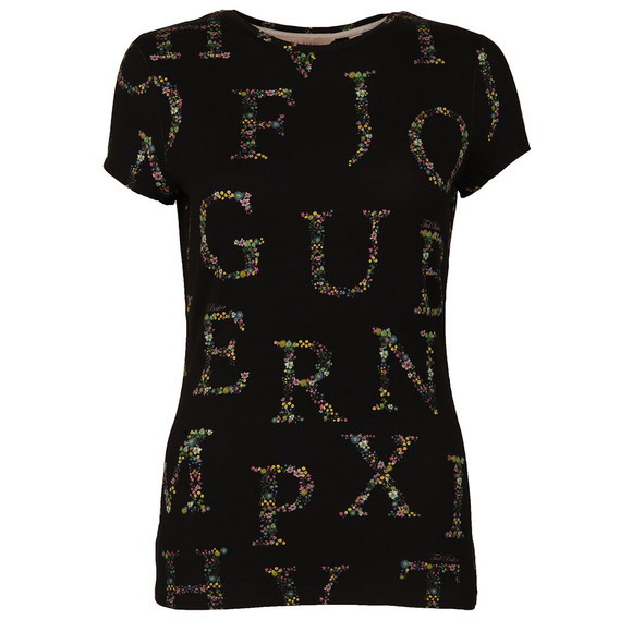 Ted Baker Womens Black Giia Unity Floral A-Z Fitted Tee main image
