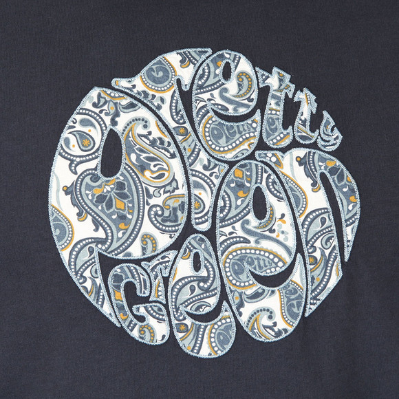 Pretty Green Mens Blue Paisley Applique T Shirt main image