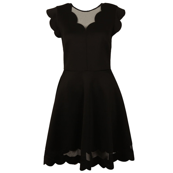 Ted Baker Womens Black Sharlot Mesh Paneled Scallop Dress main image
