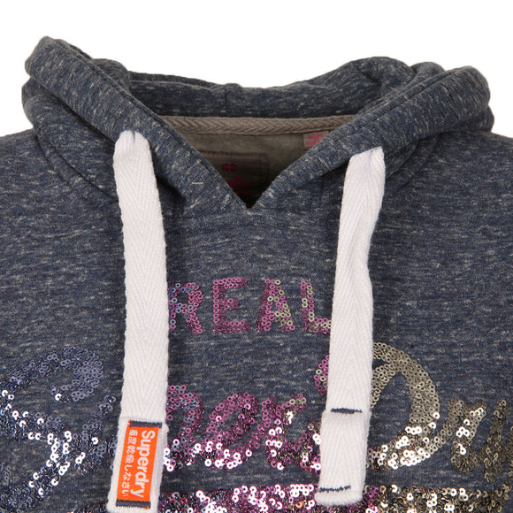 Superdry Womens Blue Vintage Logo Sequin Entry Hoody main image