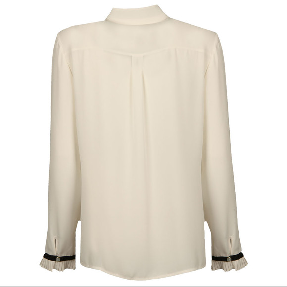 Ted Baker Womens White Kavita Pleated Frill Long Sleeve Shirt main image
