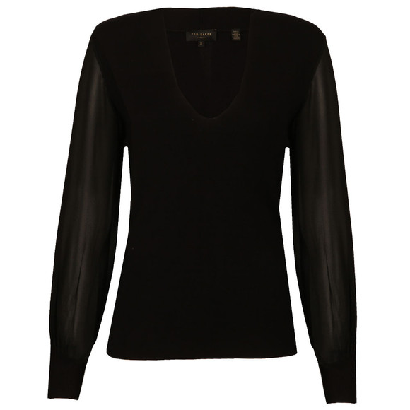 Ted Baker Womens Black Bryanna Silk Sleeve V Neck Jumper main image