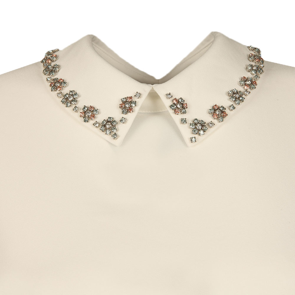 Embellished Collar Cap Sleeve Top main image