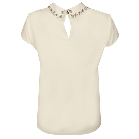 Ted Baker Womens Off-white Embellished Collar Cap Sleeve Top main image