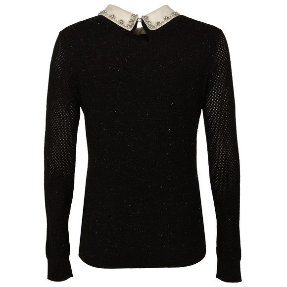 Ted Baker Womens Black Woven Collar Sparkle Jumper main image