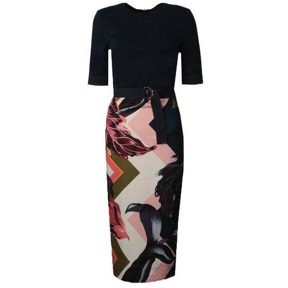 Ted Baker Womens Pink Casiew Eden Block Bodycon Dress main image