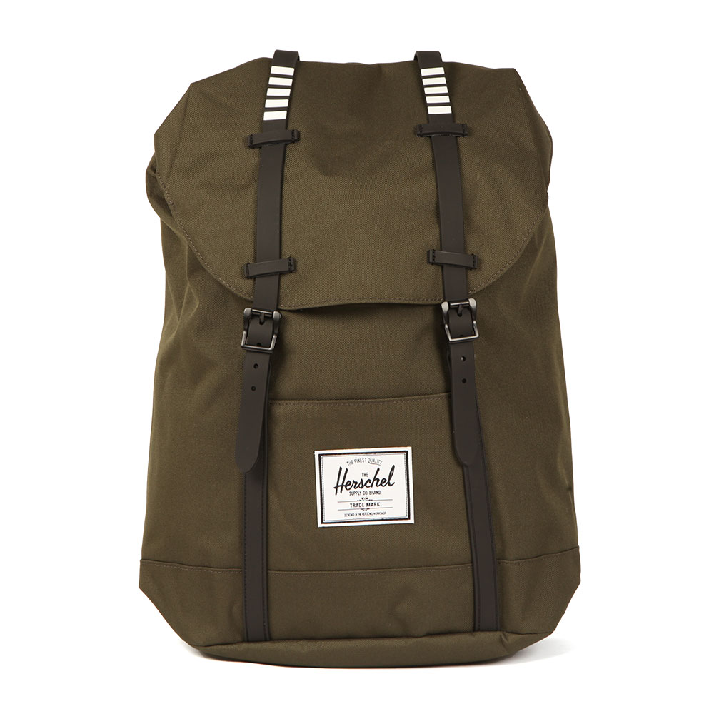 Herschel Retreat Backpack, in Forest. The Herschel retreat backpack is a treamlined rendition of a timeless mountaineering style, featuring a drawcord cinch and a strap detailed top flap.