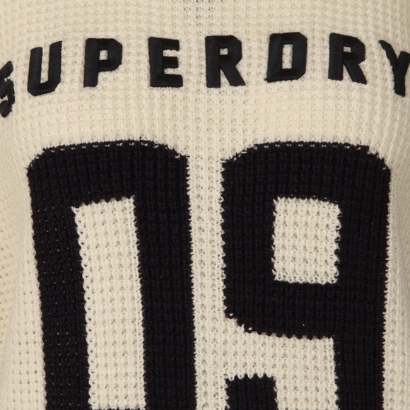 Superdry Womens Off-white Varsity Cold Shoulder Knit main image