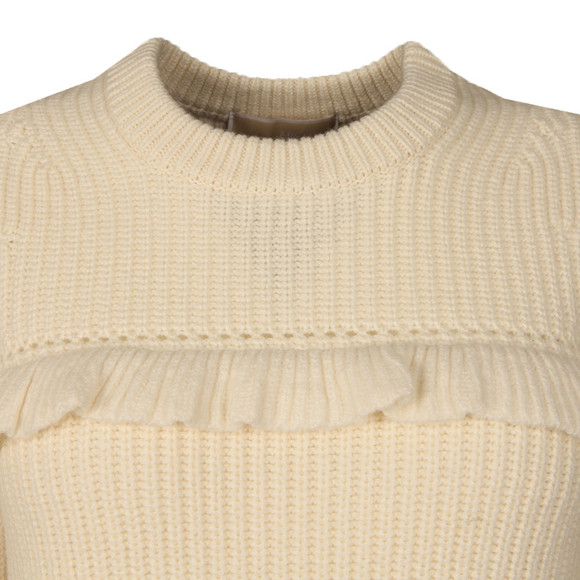 Michael Kors Womens Beige Rib Ruffle Sweater  main image