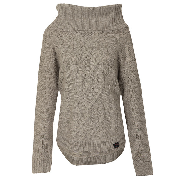 Superdry Womens Grey Lia Cable Cowl Neck Jumper main image