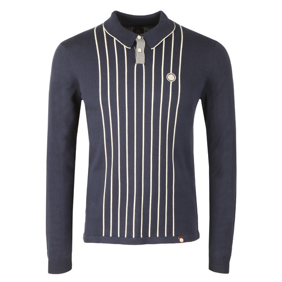 Pretty Green Mens Blue Center Striped Knitted Polo main image