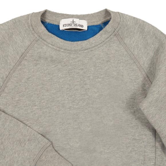 Stone Island Junior  Boys Grey Sleeve Badge Crew Neck Sweatshirt main image
