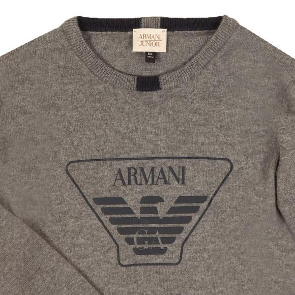 Armani Junior  Boys Grey Large Logo Knitted Jumper main image