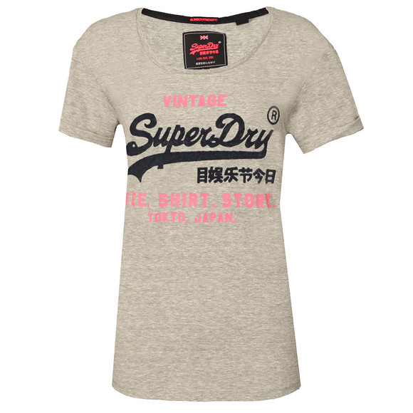 Superdry Womens Grey Shirt Shop New Slim BF T-Shirt main image