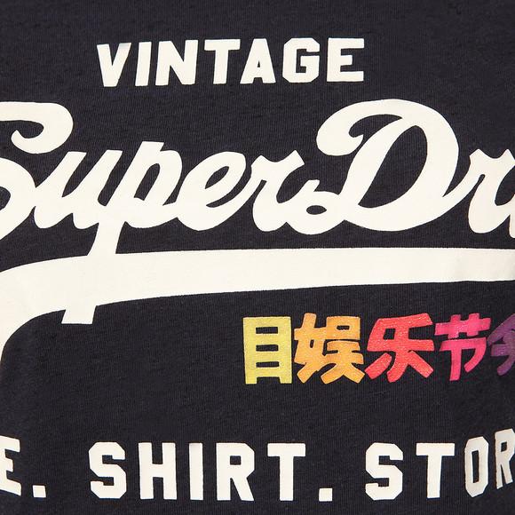 Superdry Womens Blue Rainbow Pop Shirt Shop Entry T Shirt main image
