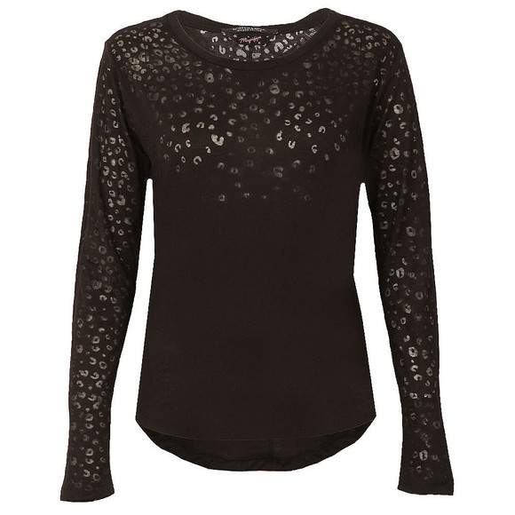 Maison Scotch Womens Black Long Sleeve Burn Out T Shirt main image