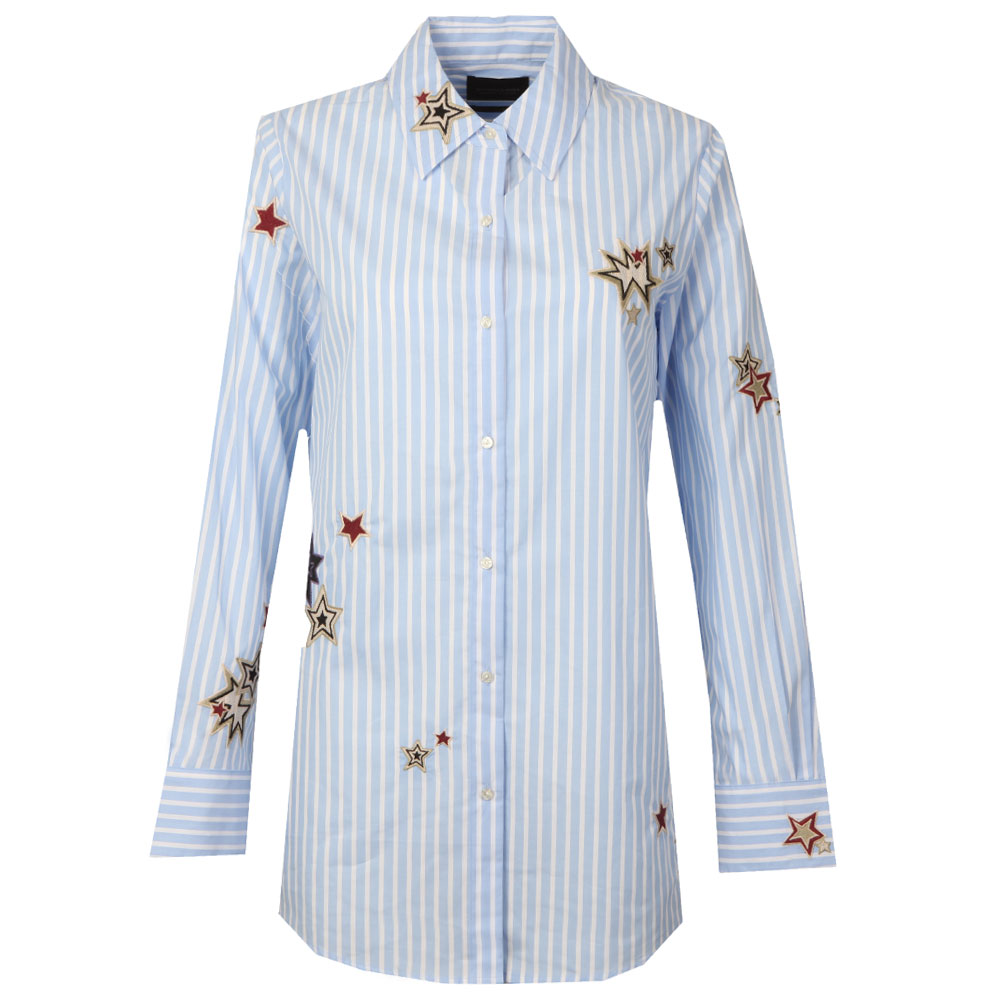 Long Sleeve Stripe Embroidered Shirt